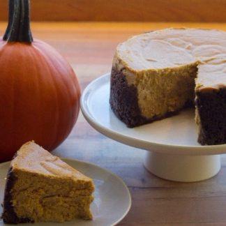 Pumpkin Cheesecake on Cake Stand